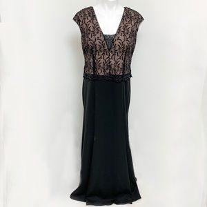 Camille long black dress with sequin top size 14